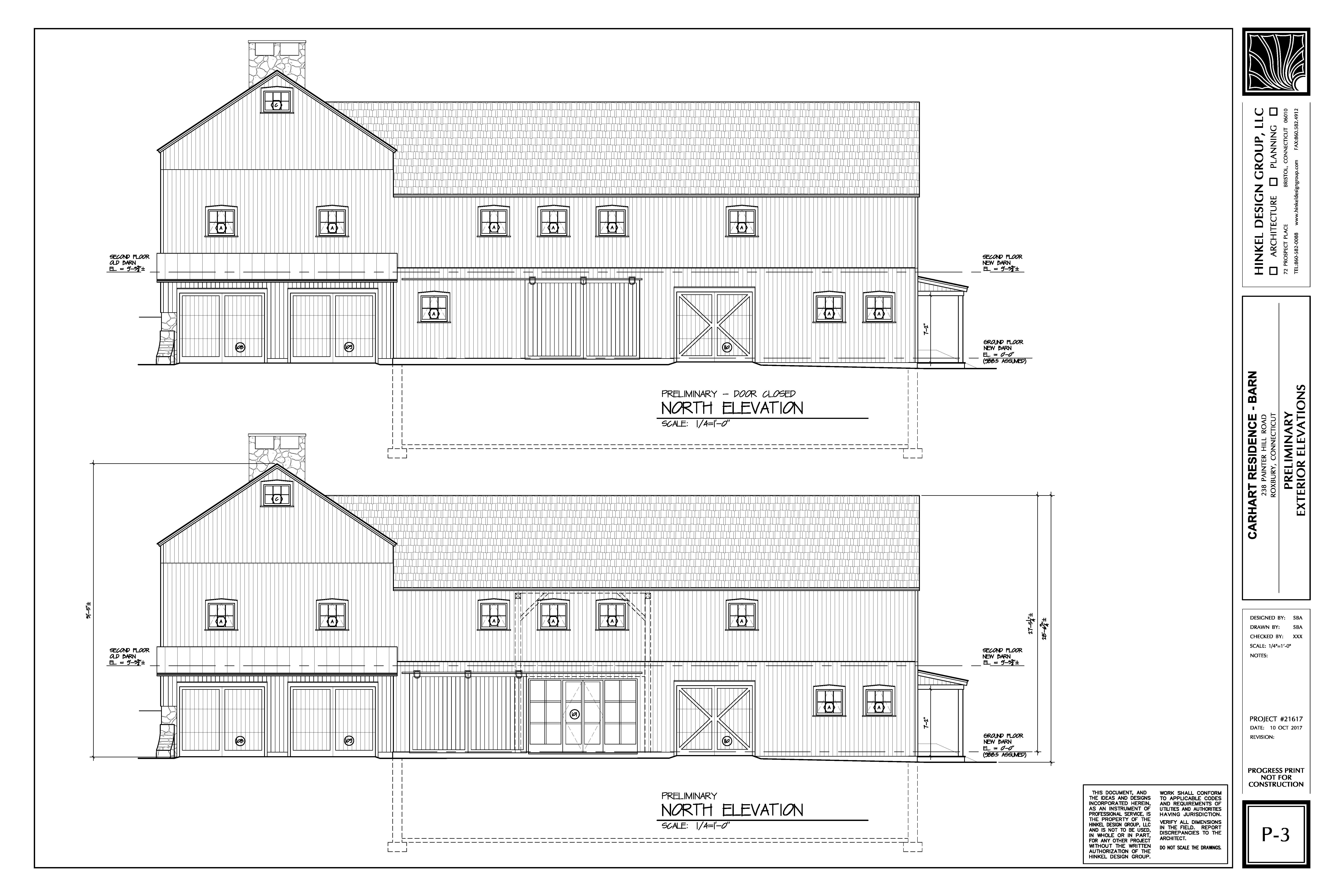 Proposed Barn Remodel: Elevation North
